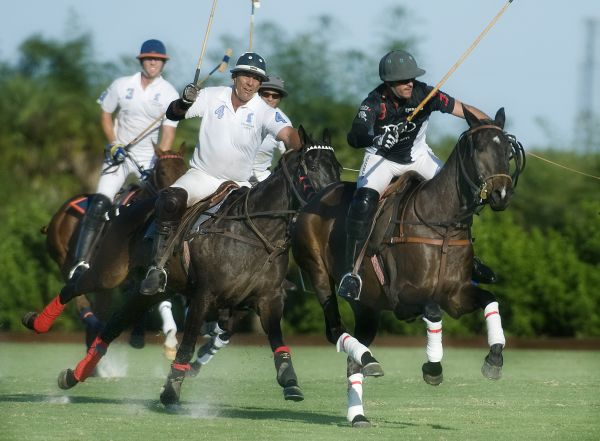 Audi's Nic Roldan (3) and ELG's Tommy Biddle (4) in a horse race to the ball. Photo by Scott Fisher