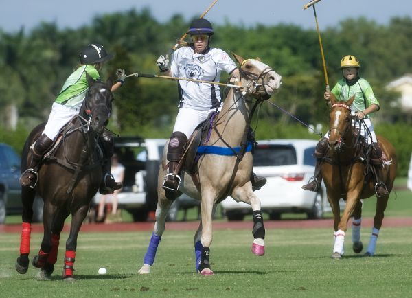 Grand Champions' Jacqui Casey (2) attempts to hit the ball while Cipi Echezaretta of Polo School Green (2) defends with help from teammate Grant Braden (3). Photo by Scott Fisher
