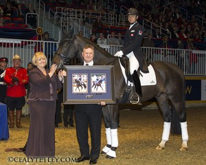 Deborah Miculinic Kinzinger named 2013 Dressage Canada 'Owner of the Year'. [Left to right] Deborah Kinzinger-Miculinic, Vel Miculinic, David Marcus aboard Chrevi's Capital. Photo Credit- Cealy Tetley