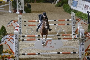 Katie Dinan and Nougat du Vallet complete a faultless run in the jump off round of the $250,000 Alltech Grand Prix.