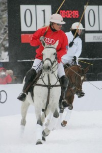 Audi's Melissa Ganzi (1) beats Piaget's Gonzalito Pieres (3) to the ball. Photo by Gary Hubbell