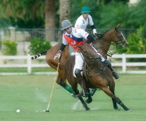 Chile's Matias Vial (1) and his horse were defended by Team USA's Jeff Hall (4) during the International Cup Tournament. Photo by Scott Fisher
