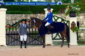 Alexander Zetterman and Cafino in their winning presentation with ringmaster Gustavo Murcia.  Photo (c) Mancini Photos.