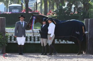 Ashton Alexander and Lordano in their winning presentation with ringmaster Gustavo Murcia and owner Lynn Seithel