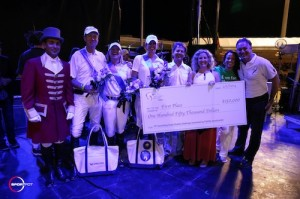 The winning presentation with ringmaster Gustavo Murcia, riders Ian Millar, Emily Kinch and Kelly Soleau, Greg Weiss, Kristin Solomon and Diana Reese for Speak Up for Kids, and Equestrian Sport Productions' CEO Mark Bellissimo