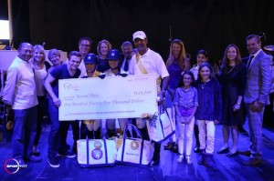 The third place presentation with Hunter Hayes and riders Alex Crown, Paige Bellissimo and Alvaro de Miranda for Musicares