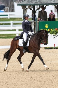 Michael Pollard and Mensa G are the early leaders of the Rolex Kentucky Three-Day Event, presented by Land Rover, scoring 49.5. (Ben Radvani photo