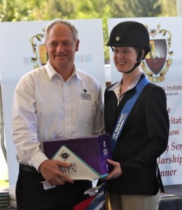 CPI High Point Equitation Champion & Scholarship Winner, Kristin Konopnicki with Roy Burek, Managing Director, Charles Owen