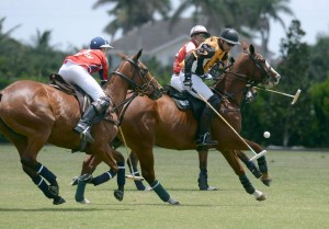 Brandon Phillips of Palm Beach Polo double teamed by father and son Bob and Justin Daniels. Photo by Scott Fisher