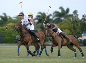 In the subsidiary round robin, Casablanca's Kris Kampsen warms up for the final against Polo Gear's Joey Casey and Alejandro Gonzales. Photo by Scott Fisher