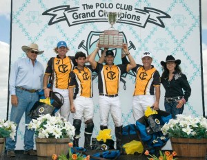 Polo Gear co-founders and awards presenters Gary Fellers and Jeanette Sassoon with Palm Beach Polo's winning team of Kris Kampsen, Carlos Gracida Jr., Brandon Phillips and Glenn Straub.  Photo by Scott Fisher