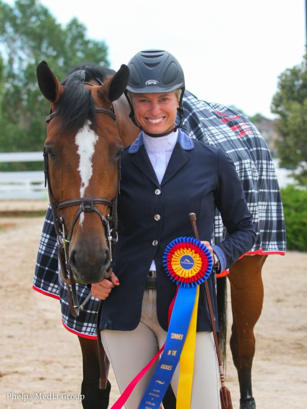 Taylor Cowles and her own Dante Z $1,500 Marshall & Sterling Adult Jumper Classic Winners Photo by Mary Adelaide Brakenridge