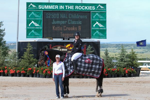 Katie Crooks and Topper $2,500 North American League Children's Jumper Classic Winners Photo by Lauren Buettner