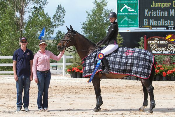 Kristina Matthews and Neolisto Van Het Mierenhof $2,500 North American League Adult Jumper Classic Winners Photo by Lauren Buettner