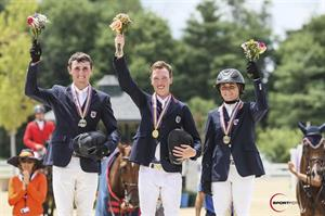 Jumping Young Rider Individual medalists (from left) Michael Hughes, Wilton Porter, and Victoria Colvin (Sportfot)