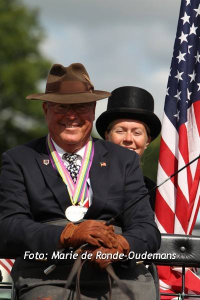 Veteran Robert Giles with his Silver medal at the closing ceremony of the 2014 FEI World Para-Equestrian Driving Championships June 27-29. Photos by Marie de Ronde-Oudemans and Patricia Kastama. More at www.facebook/usdfd