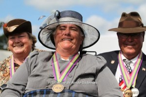 USA Para-Driving Team (Left to Right) Virginia Fitch, Diane Kastama and Veteran Robert Giles at the closing ceremony of the 2014 FEI World Para-Equestrian Driving Championships June 27-29. Photos by Marie de Ronde-Oudemans and Patricia Kastama. More at www.facebook/usdfd