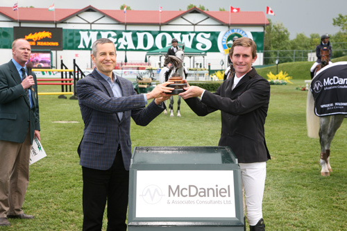 Darragh Kenny in his winning presentation with Phil Welch, President & Managing Director, McDaniel & Associates Consultants