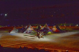 "Nomadic riders circle around what appeared to be multicolored ""tents"" but were an optical illusion"