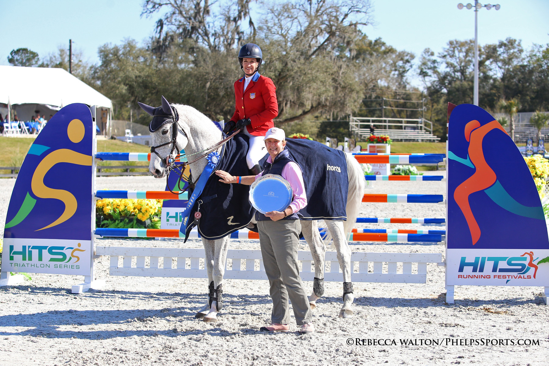 Winners of the $150,000 Ocala Grand Prix, Laura Kraut and Cedric, with owner Margaret Duprey. (Photo Credit: Rebecca Walton)