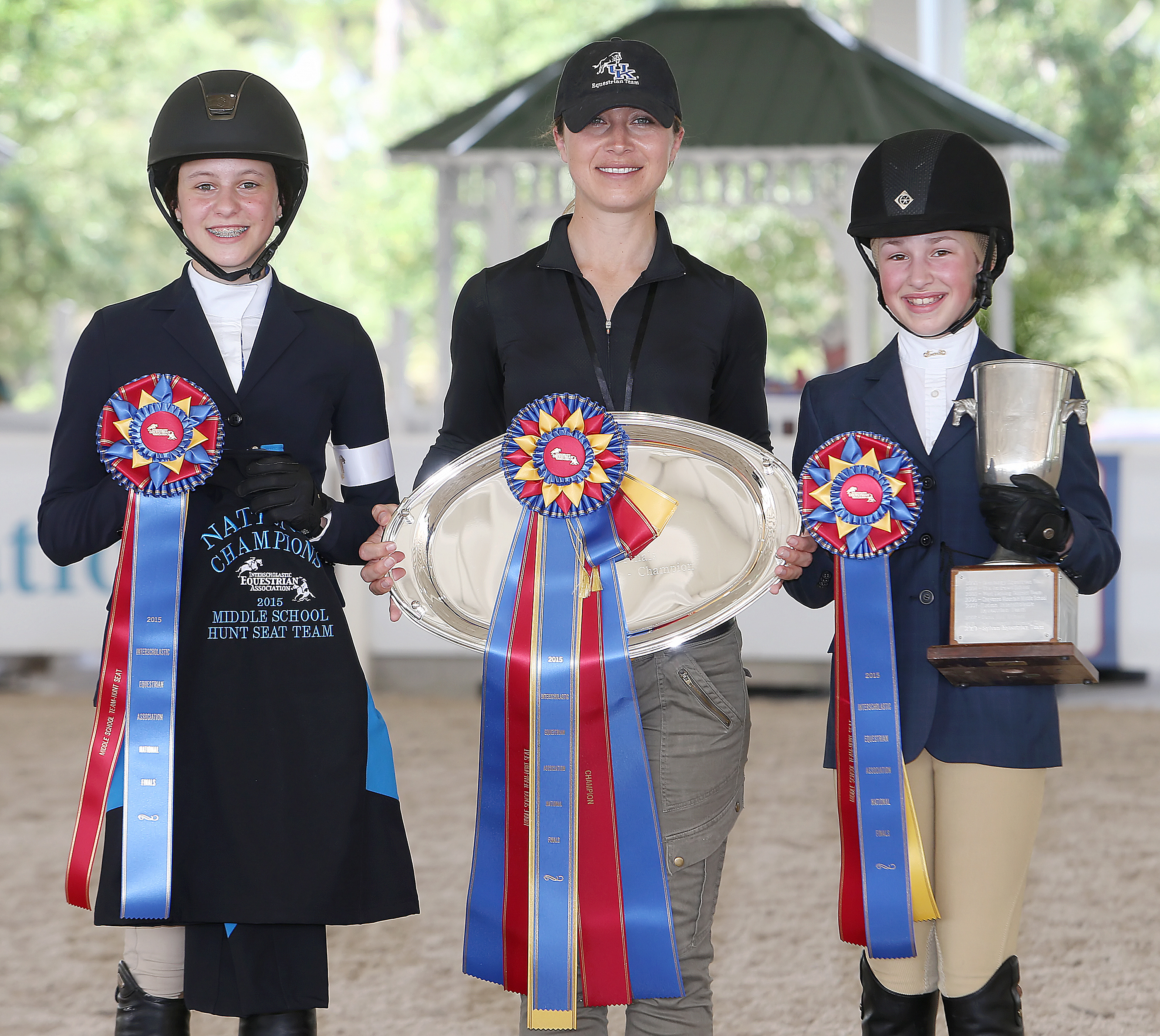 Liftoff Equestrian Team - Versailles, Kentucky, IEA 2015 Middle School Championship Team left to right: Isabela de Sousa, Diana Conlon (coach), Genevieve Heyn