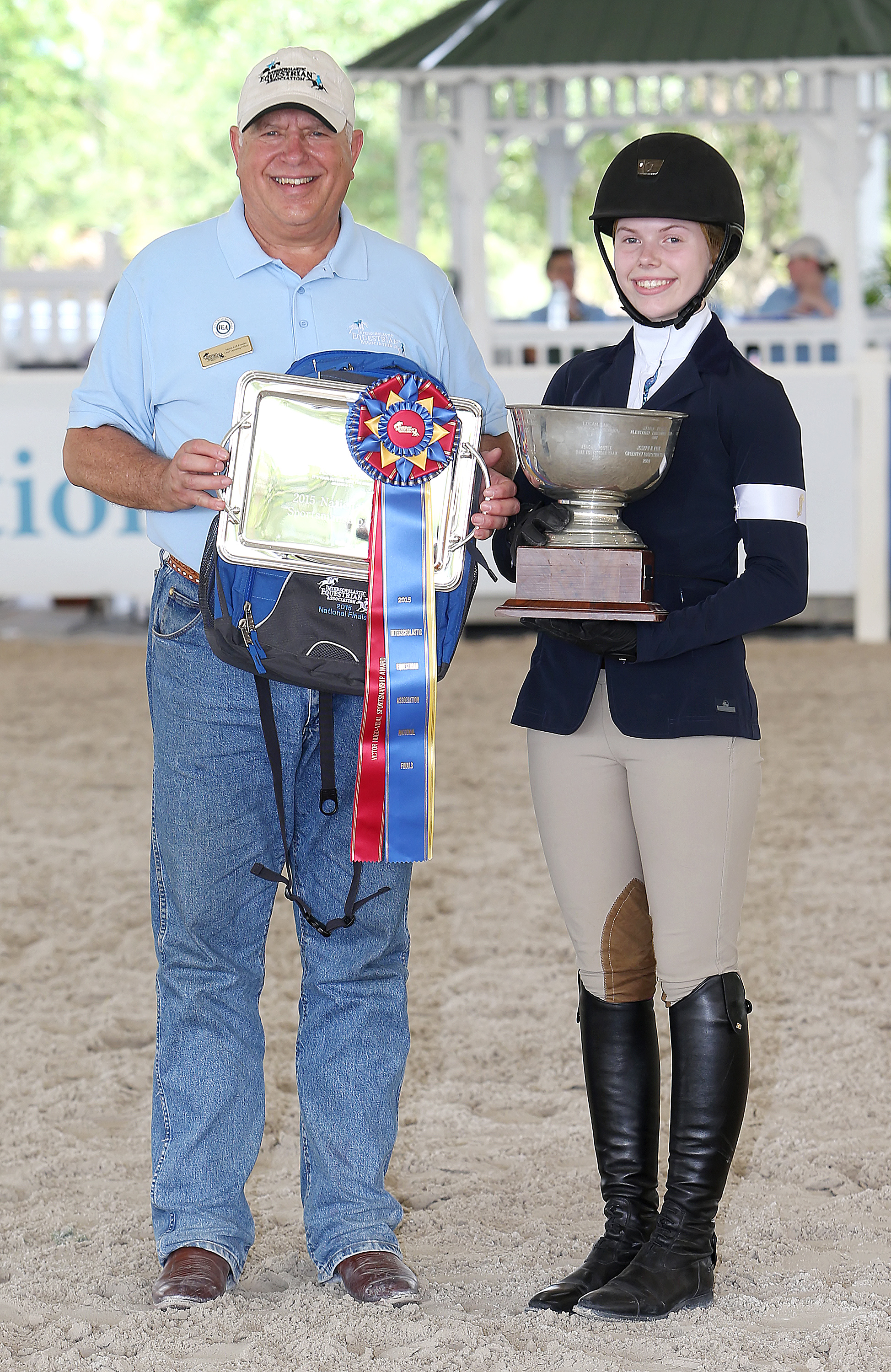 Kate Coffey - North Gate Equestrian Team - Sudbury, Massachusetts, Victor Hugo-Vidal Perpetual Trophy for National Finals Sportsmanship left to right: Myron Leff (IEA founder), Kate Coffey