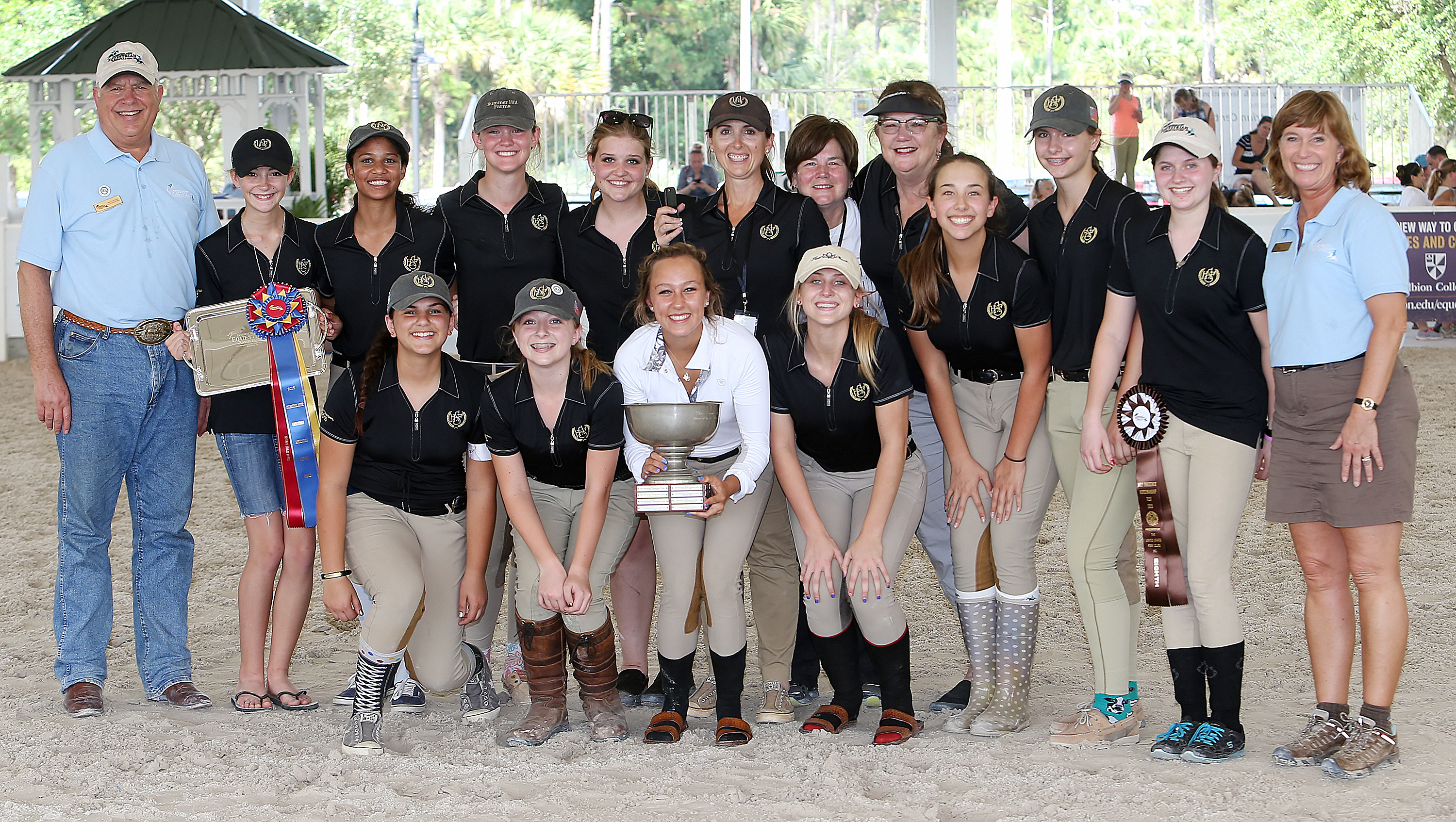 Summer Hill Farms Equestrian Team - Flower Mound, Texas, 2015 Team Spirit Award left to right: back row:  Myron Leff (IEA founder), Madison Butz, Avery Dukes, Sydney Boren, Alexis Smith, Amy Greene (coach), Melissa Foster, Susan Frey, Christine Johnson, Olivia Donnarumma, Roxane Lawrence (IEA founder).  Front row: Taylor Chahal, Reagan Havron, Alex Arthur, Lauren Lacy, Avery Ackalbein