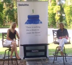 Laura Graves and Judy Sloan discuss the sponsorship at a press conference . (Photo courtesy of Deloitte)