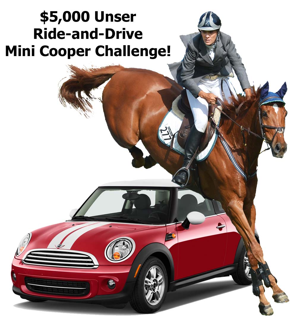 The Santa Fe Summer Series proudly announces the $5,000 Unser Ride-and-Drive Mini Cooper Challenge sponsored by Sandia Mini Cooper! (Photo courtesy of Equicenter de Santa Fe)