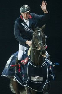 John Whitaker of United Kingdom rides Argento celebrates after winnig the Longines Grand Prix during the Longines Hong Kong Masters 2015 at the AsiaWorld Expo on 15 February 2015 in Hong Kong, China. Photo by Xaume Olleros  / Power Sport Images