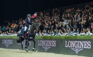 John Whitaker of United Kingdom rides Argento celebrates after winning the Longines Grand Prix during the Longines Hong Kong Masters 2015 at the AsiaWorld Expo on 15 February 2015 in Hong Kong, China. Photo by Victor Fraile / Power Sport Images