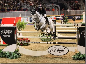 Farfelu du Printemps Jill Henselwood and Farfelu du Printemps jumped clear in the two initial rounds, then took only one rail in the jump-off but finished with the fastest time for the win. Photo by Shelley Higgins/MacMillan Photography