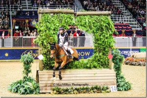 Waylon Roberts and West River power through the keyhole jump on their way to winning the $20,000 Horseware Indoor Eventing Challenge at the 2015 Royal Winter Fair Horse Show in Toronto. Photo by Shelley Higgins/MacMillan Photography