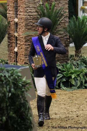 Photo 3 – McLain Ward with his Leading International Rider sash and trophy at the 2015 Royal Horse Show Photo by Shelley Higgins/MacMillan Photography