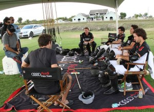 Audi teammates in players' tent after a hardfought game, from left to right, Marc Ganzi (1), Carlitos Gracida (2), Nic Roldan (3), Nico Pieres (4). Photo by Alex Pacheco
