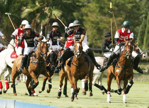 From left to right, Audi teammates Nico Pieres (4), Carlitos Gracida (2), Nic Roldan (3).  Photo by Alex Pacheco