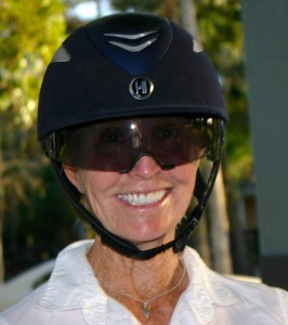 Betsy Steiner sports a helmet with attached shades at  The Challenge of The Americas practice