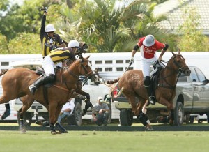 Audi's Nico Pieres (No. 4) fights for the ball against Faraway's Pelon Escapite (No. 2) and Santiago Chavanne (No. 3). Photo credit Alec Pacheco