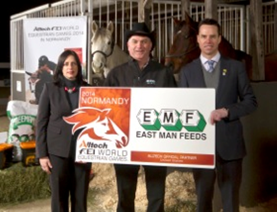 (pictured left to right) Orla McAleer, European marketing manager with Mark Peters, East-Man Feeds sales and marketing manager, and Ty Yeast, Alltech's Canadian managing director, celebrating East-Man Feeds' Alltech Official Partnership of the Alltech FEI World Equestrian Games™  2014 in Normandy.