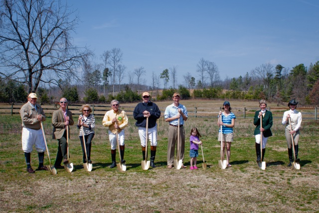 Breaking Ground on a New Huntsman's House. Pictured Left to Right: Art Lazarus, Dean McKinney, MFH, Louise Hughston, MFH,  Nelson Minnick, Kerry Holmberg, MFH, Jordan Hick (Huntsman), McKinsey Hicks, Jennifer Hicks, Bonnie Lingerfelt, MFH and Becky Barnes. Photo credits: Don West