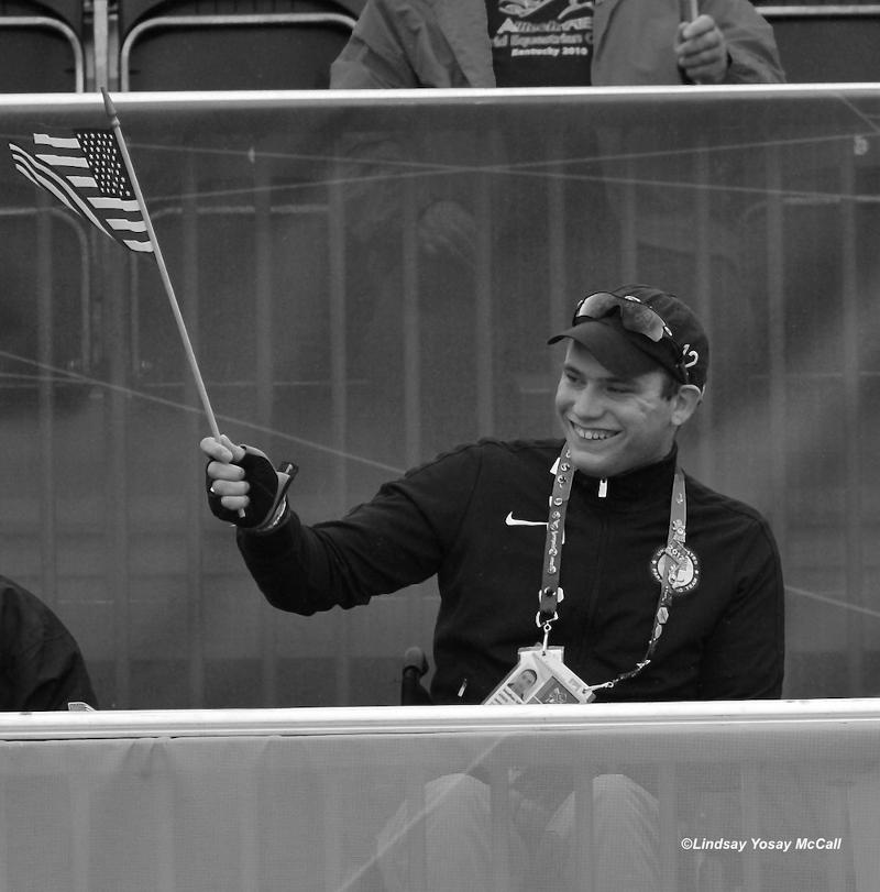 Jonathan Wentz at the 2012 London Paralympics cheering his team on. Photo (c) Lindsay Yosay McCall