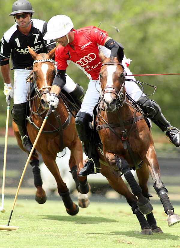 Audi 10-goaler Gonzalito Pieres drives downfield with brother and 10-goaler Facundo Pieres of Zacara in hot pursuit. Photo credit Alex Pacheco.