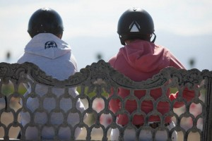Sophie and Katie watch a few rounds before the M&S League Children's Jumper Classic at HITS Thermal