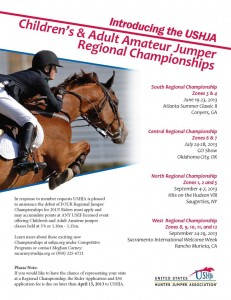 Informational flyer for the USHJA Children's and Adult Regional Jumper Championships.  http://www.ushja.org/programs/jumper/ch_aahome.aspx