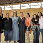 From left to right, Heather Blitz, Cathy Drumm, Donna Cameron, Ruth Walker, Gwyneth Drumm, Miranda Drum, and Bliss Rufo at Cutler Farm Dressage's Open House.  (Photo courtesy of Carol Hill)