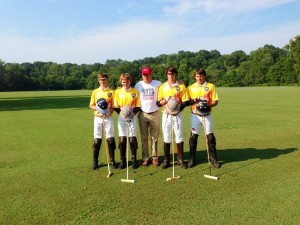 Team photo of Zone 3 All-Stars from left to right, Justin Daniels, Grant Ganzi, Coach John Gobin, Juancito Bollini, Wes Finlayson.