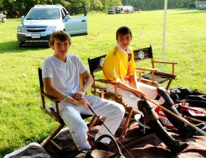 Grant Ganzi of Grand Champions Polo Club and Justin Daniels of Wellington getting ready for the game.