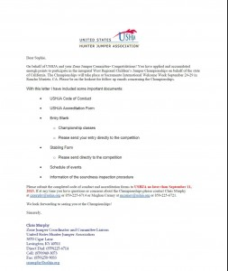 Official invitation to compete in the USHJA Children's and Adult Amateur Regional Jumper Championship