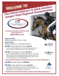 CH/AA West Region Jumper Championships Schedule of Events. Photo Credit USHJA