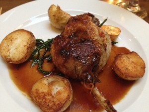 Duck leg confit with samphire grass and roasted potatoes courtesy of the King's Arms Restaurant.